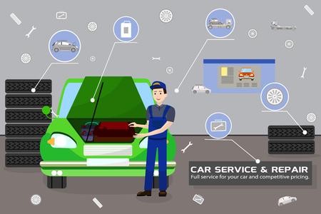 Car Service and Repair Concept. Car Maintenance in Garage. Automobile Workshop Set. Car Mechanic Work. Mechanic Workers Repair of Vehicles. Diagnostic Car Service. Vector Flat Illustration. Banque d'images - 127723560