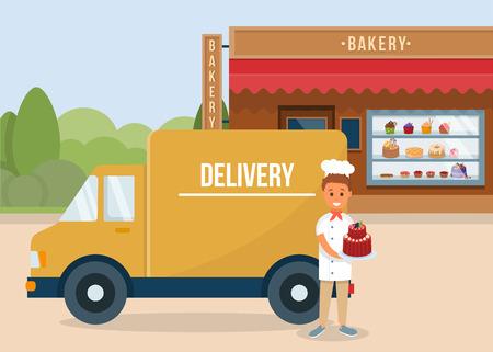 Concepto de pedido y entrega de horneado. Panadería Casera. Mensajero con pastel cerca de camión. Fachada del edificio de la tienda de panadería. Decoración fresca para hornear y pasteles. Escaparate con dulces. Vector ilustración plana.