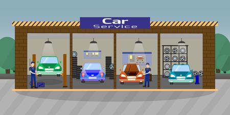 Car Service and Repair Concept. Car Maintenance in Garage. Automobile Workshop Set. Car Mechanic Work. Mechanic Workers Repair of Vehicles. Diagnostic Car Service. Vector Flat Illustration. Banque d'images - 127723562