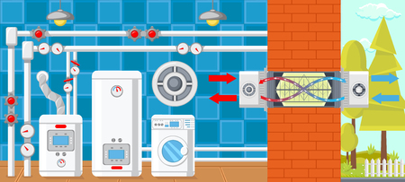 Air Ventilation in Boiler Room. Plumbing in House. Water Supply Concept. Modern Technology in Plumbing. Battery at Home. Batteries and Heat Supply. Heating Layout. Vector Flat Illustration. Illustration