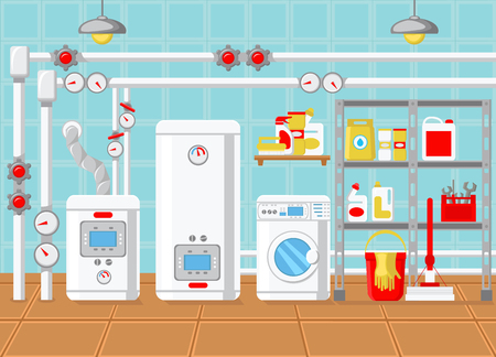 Plumbing in House. Water Supply Concept. Modern Technology in Plumbing. Battery and Heating at Home. Batteries and Heat Supply. Heating Layout. Boiler Room. Vector Flat Illustration.