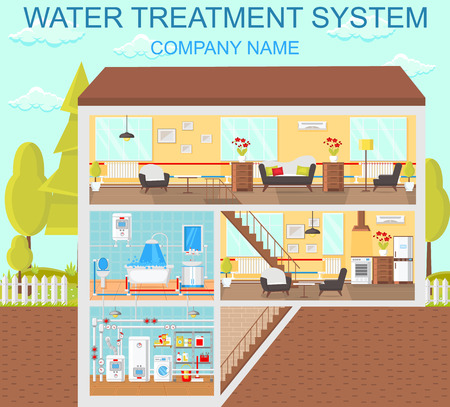 Water Treatment System. Plumbing in House. Modern Technology in Plumbing. Battery and Heating at Home. Batteries and Heat Supply. Heating Layout. Boiler Room. Vector Flat Illustration. Illustration