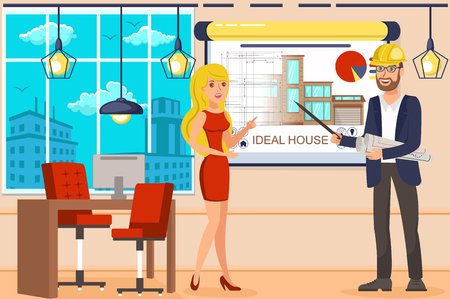 Ideal House Project. Design Department. Architectural Business. Construction Control and Building Layout. Smart House. Architect in Helmet and Woman near Drawing House. Vector Flat Illustration.