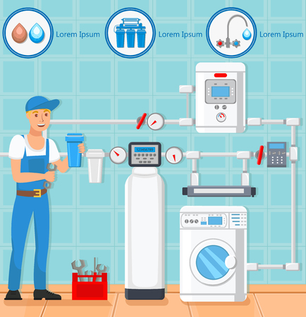 Laundry Room Repair and Plumber Concept. Worker Man and Washing Machine. Tools and Fixes Water. Filtration Technology. Plumber Services Business. Water Purification. Vector Flat Illustration. Ilustração