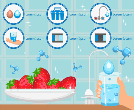 Washing Fruit with Purified Water. Glass in Hand and Strawberry on Plate. Aqua for Life. Home Water Filtration. Household Filtering Concept. Purification Technology. Vector Flat Illustration. Illustration
