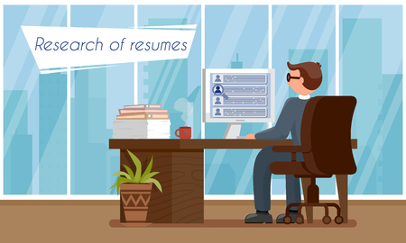 Research of Resumes. Human Resource. Staff Recruitment. Sign Up for Job Interview. HR Agency Concept. Male HR Manager in Workplace. Working Time in Office Set. Vector Flat Illustration.