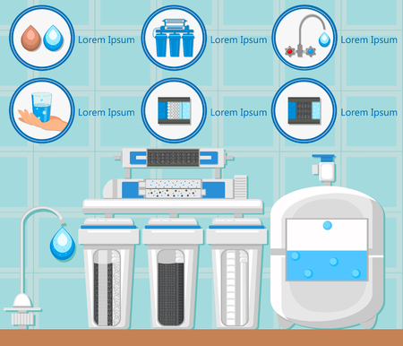 Reverse Osmosis. Water Treatment Plant. Destruction Bacteria. Water Purification System. Flasks with Filters and Fluid Reservoir. Purification and Filtration Technology. Vector Flat Illustration.
