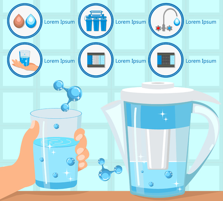 Hand Holding Glass Purified Water. Aqua for Life. Destruction Bacteria. Home Water Filtration. Household Filtering Concept. Purification and Filtration Technology. Vector Flat Illustration.