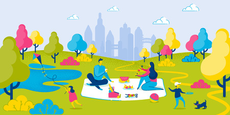 People Have Picnic Outside. Family Together in City Park. Parents Have Lunch. Daughter Playing Kite. Son Playing with Dog. Mother, Father and Children. Summer Vacation, Landscape. Vector EPS 10.