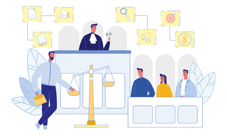 Judge and Jury in Courtroom. Witnesses and Attorney. Happy People. Money, Gavel and Handcuffs. Evidence on Scale. Legislation Concept. Modern Occupation. Career and Workplace Concept. Vector EPS 10.