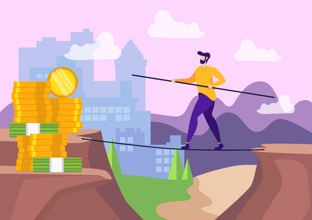 Gap Between Poverty and Wealth. Man Walking by Tightrope Toward Money. Risk for Cash and Coins. Man Getting Rich. Way to Success. Career Concept. Financial Progress. Business Startup. Vector EPS 10.