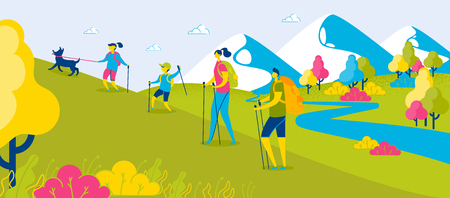 Happy Family Hiking in Mountains. Backpackers Climbing Hill. Sporty Family Trekking with Sticks. Mother, Father and Children. Son Holds Dog. Summer Vacation. Active Recreation. Vector EPS 10.
