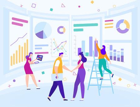 Analyse von Geschäftsdaten. Büroteambesprechung, Brainstorming. Kollegen Händeschütteln. Geschäftsstrategie. Marketing-Infografik. Junge Leute am Arbeitsplatz. Teamarbeit und Erfolg. Vektor-EPS 10.