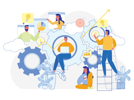 Business Gears. Teamwork and Partnership Concept. Office Team Working. Startup Success Strategy. Boost and Achievement. Business Goal. Professional Growth. Cooperation and Efforts. Vector EPS 10. Ilustração