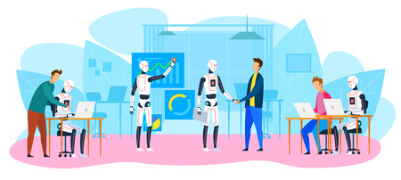 Robot Office Workers. People and Humanoids Handshaking. Work Together. Creative Industrial AI. Futuristic Technology. Innovation Robot. Artificial Intelligence Concept.