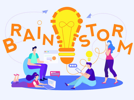 Office Team Got Light Bulb. Ideas and Brainstorm Concept. Young People Have Meeting at Workplace. Creativity and Business Strategy. Marketing and Management. Teamwork and Success. Vector EPS 10. Illustration