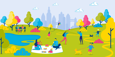 Family Weekend in City Park. People Have Picnic Outside. Parents Have Lunch. Daughter Playing Kite. Son Playing with Dog. People Play Ball. Summer Vacation. Nature and Landscape. Vector EPS 10.