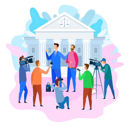 Attorney Gives Interview near Court Building. Lawyer Protects Not Guilty Man. Lawyer Services. Reporters and Journalists with Cameras and Microphones. News Release. Law Protection.  イラスト・ベクター素材