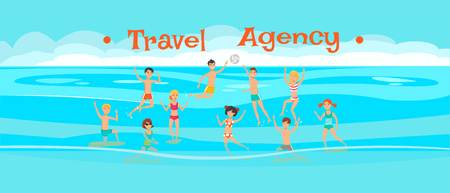 Travel agency banner flat vector template. Sea resort. Water volleyball, polo game. Holidaymakers, tourists play with ball, have fun cartoon characters. Summer vacation illustration with lettering