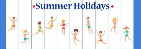 Summer holidays banner flat template. Sea resort. Holidaymakers, tourists play, have fun cartoon characters. Happy people in swim suits in different poses. Weekend, vacation illustration and lettering