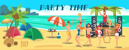Beach tent party banner flat template. Sea resort. Young people in swimsuits dancing, have fun on ocean beach. Get together. Teenage holidaymakers characters. Summer time illustration with lettering Çizim
