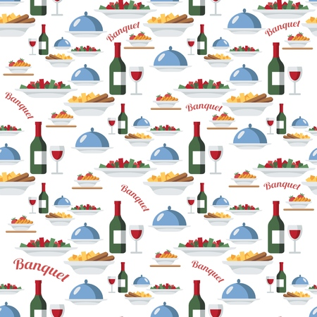 Catering and restaurant seamless vector pattern. Wine bottles, salad, hot dishes, tray with lid. Food, meal items background, backdrop. Banquet. Wrapping paper, kitchen textile, wallpaper, design idea