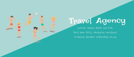 Travel agency banner cartoon template. Sea resort. Holidaymakers, tourists play, have fun flat characters. Happy people in swim suits in different poses. Weekend, vacation illustration with text