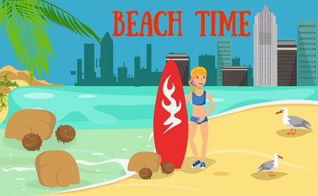Female surfer flat character. Young woman with surfboard and seagulls. Surfing advertising. Summertime activities. Holidaymaker, tourist cartoon illustration. Beach time lettering. Banner concept