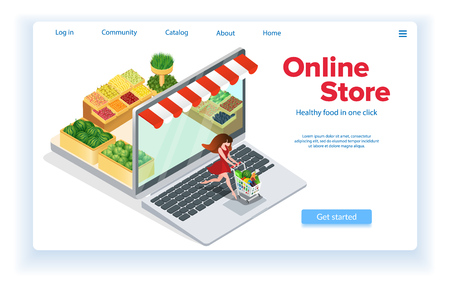 Woman Buys Food Online. Internet Shopping Concept. Customer with Grocery Cart. Healthy Food. E-Commerce. Web Site Landing Page. Online Store in Laptop. Sales and Marketing. Isometric Vector EPS 10. Ilustração