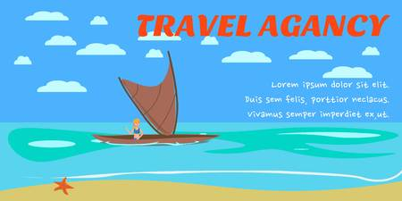 Travel agency banner flat layout template. Sea resort activities. Sailing advertising. Holidaymaker, tourist on sailboat character. Summer vacation vector illustration with lettering and text