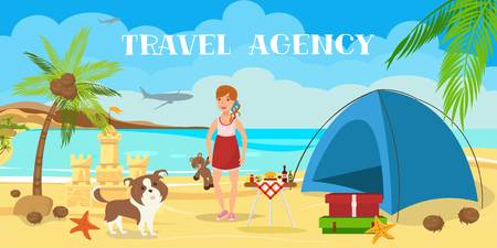 Beach camping flat color illustration. Sea resort activities. Teenage girl with dog have fun cartoon character. Family rest. Tent, luggage, sand castle. Travel agency banner template with lettering