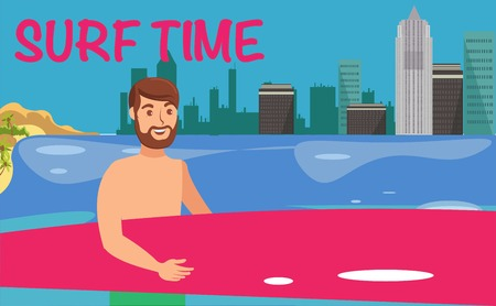Male surfer flat vector illustration. Sea resort activities. Young man with surfboard. Surfing advertising. Holidaymaker, tourist cartoon character. Surf time lettering. Summertime color banner idea