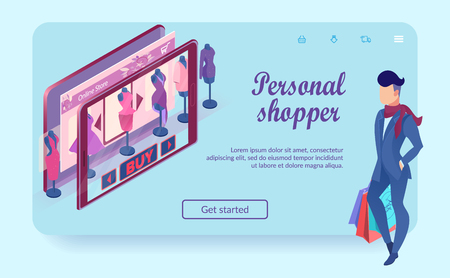 Man with Bags at Virtual Clothing Shop. Personal Shopper. Ordering Online Concept. Fashion Showcase in Tablet. Buy with Mobile App. E-Commerce. Buy Button on Landing Page. Isometric