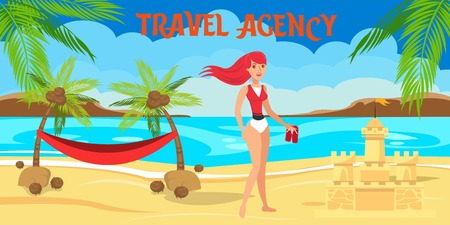Sea resort flat vector illustration. Tropical island paradise rest. Hotel outdoor activity. Young woman, sand castle, hammock. Holidaymaker, tourist cartoon character. Travel agency horizontal banner