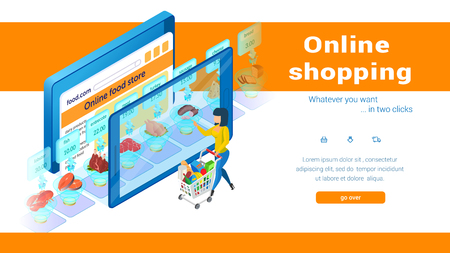 Online Food Store Shopping Concept. Small Woman with Cart Clicks on Large Screen. E-Commerce. Buy with Mobile App. Internet Supermarket in Tablet or Smartphone. Sales and Marketing. Vector EPS 10.