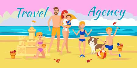 Family summer vacation banner flat template. Sea resort activities. Parents with kids, dog have fun on beach cartoon characters. Summer holiday. Travel agency vector illustration with lettering Çizim