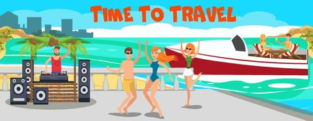Beach luxury party banner flat vector template. VIP sea resort. Young people dancing, have fun on ocean beach, yacht. Teenage holidaymakers, tourists cartoon characters. Summer time illustration