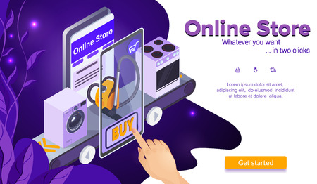 Buy Vacuum Cleaner. Online Shopping Concept. Hand Clicks Buy Button. Stove and Washing Machine. E-Commerce. Internet Store in Smartphone. Online Store. Sales and Marketing. Isometric Vector EPS 10.