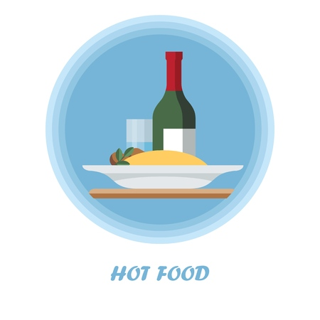 First course flat vector illustration. Hot meal with wine bottle, glass. Catering serving. Dinner, supper food dish. Garnish. Cartoon plate of couscous. Restaurant, cafe, bistro menu isolated clipart