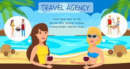 Travel agency flat vector illustration. Two girls discuss boyfriends, romantic relationships. Picnic, barbecue with men. Girlfriends at sea resort cartoon characters. Summer vacation banner template 일러스트