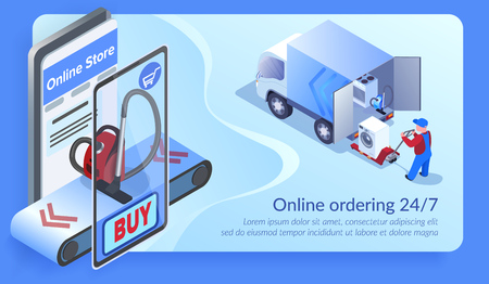 Online Ordering 24 for 7. Man Loading Truck with Home Appliances. Buy Vacuum Cleaner with Mobile Phone. Online Store Landing Page. E-Commerce and Shipping Concept. Isometric