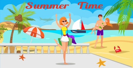 Summertime lettering flat vector illustration. Time to travel. Hotel beach rest. Young holidaymakers cartoon characters. Young girl and couple in love. Sea resort. Travel agency banner template