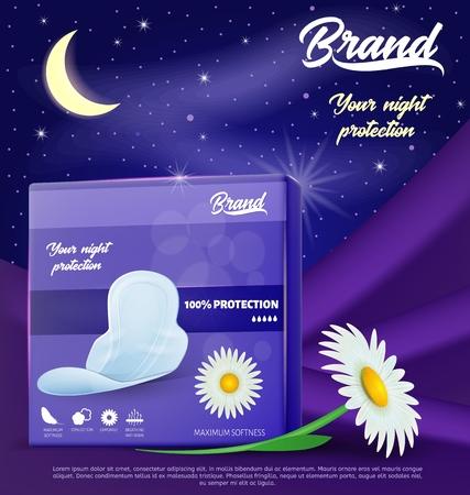 Packung mit Kamille Hygienepads. Abbildung des Nachtschutzes. Menstruationsblutsauger. Dünne Pads mit Flügeln. Produkte für die Damenhygiene. Banner-Werbung für Damenbinden.