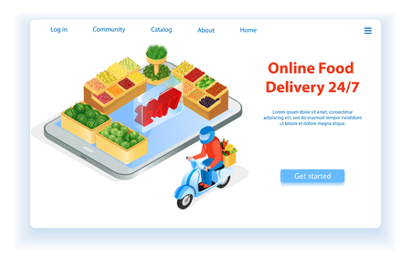 Courier Delivers Food by Motorcycle. Internet Food Store Landing Page. Ordering Online Food Delivery. 24 for 7 Fast Delivery Service. Supermarket Online. Buy with Mobile App. E-Commerce. Vector EPS 10.