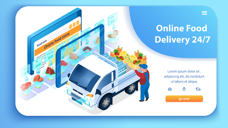 24 7 Online Food Delivery Service. Man Loading Truck with Groceries. Supermarket in Tablet. Fast Shipping Concept. Web Site Landing Page. Buy with Mobile App. E-Commerce. Isometric Vector EPS 10.