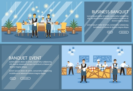 Restaurant flat landing page vector template. Banquet hall, event center website, webpage. Waiters, chef cooks cartoon characters. Served tables color illustration. Catering service web banner concept Illustration
