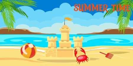 Summertime lettering flat banner. Tropical island paradise resort. Palm, sea, beach, sand castle, toys, crab. Cartoon shore, coast, seascape. Summer vacation poster vector illustration with lettering