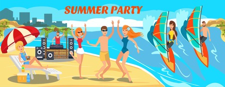 Paradise sea resort vector flat banner. Summertime activities. Windsurfing, party, relax on ocean beach. Tourists, holidaymakers have fun cartoon characters. Summer party illustration with lettering