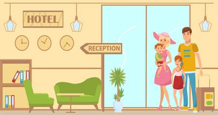 Family arrived to hotel flat illustration. Lobby and reception interior design. Hotel check in. Parents with kids, baggages standing in hall. Holidaymakers characters. Summer vacation banner concept