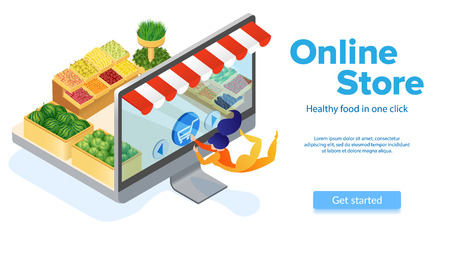 Online Food Ordering. Woman Buys with Computer. Small Customer Presses Cart Button. Healthy Food. Online Store Shopping. E-Commerce. Buy with Mobile App. Internet Marketing. Isometric Vector EPS 10.